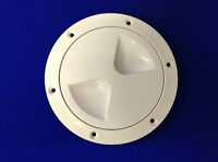 Boat Deck Round White Access Hatch Access Hole 100mm Screw In Centre