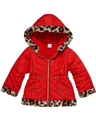 Toddler Girls Quilted Red /& Leopard Print Puffer Jacket Winter Snow Coat