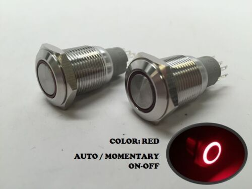 2 of MARINE SS304 RED LED ULTRA FLUSH LIGHT AUTO ON-OFF PUSH SWITCH RING BUTTON