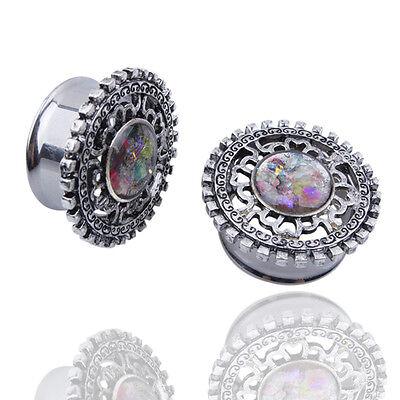 Intricate Gear 316L Surgical Steel Ear Expander Tunnels Body Piercing Jewelry