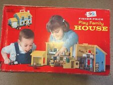 Vintage 1969 Fisher Price Little People FAMILY PLAY HOUSE #952 With Box! & Xtras