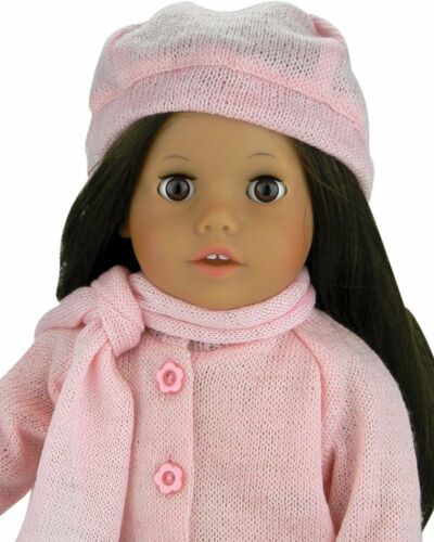"""Doll Clothes 18/"""" Skirt Sweater Leggings Scarf Hat Pink Fits AG 18/"""" Dolls"""