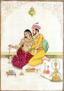 Mughal-Art-Painting-Very-Fine-Miniature-Artwork-Hand-painted-Mughal-King-amp-Queen