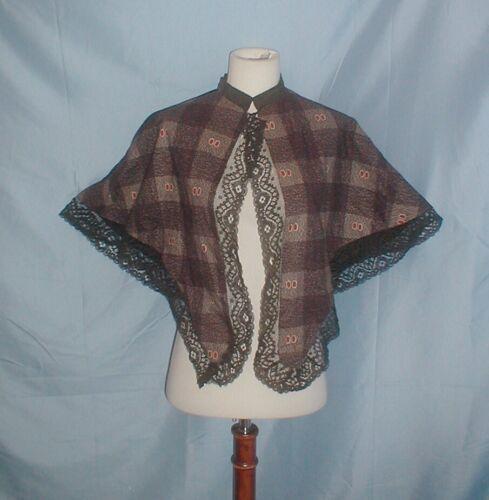 Antique Dress Cape Victorian 1860's Printed Cotton