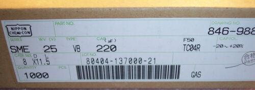 100 QTY 220uf 25V RADIAL ALUMINUM ELECTROLYTIC CAPACITOR SME25VB220M8X11.5 NCC