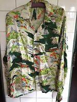 Vintage 1940s Japanese Novelty Print Long-Sleeved Silk Hawaiian Shirt