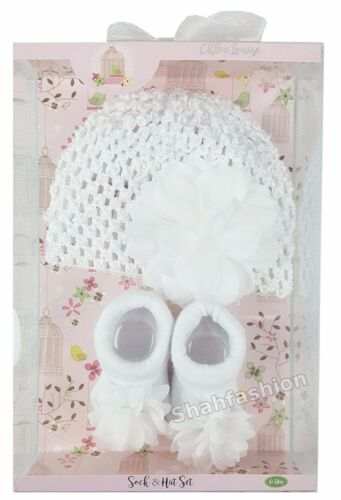Bebé Niñas Hermoso Sombrero Y Calcetines Conjunto de Regalo en Caja de Regalo Talla 0-12 meses K1123