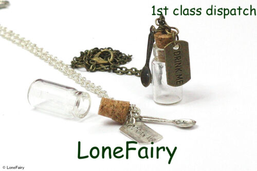 Alice In Wonderland Drink Me Empty Glass Bottle Silver Plated Chain Necklace
