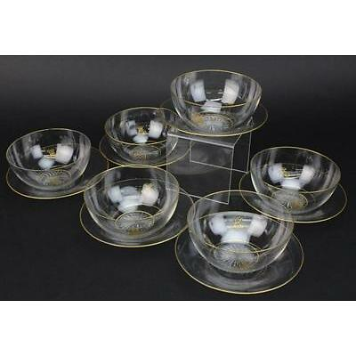 11. Set of 6 Le Rosey French Fine Crystal Glass Bowls & Under Plates QUALITY Lot 11