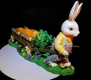 Vintage Bunny Rabbit Pulling Long Carrot Candle Holders Easter Tabletop Decor