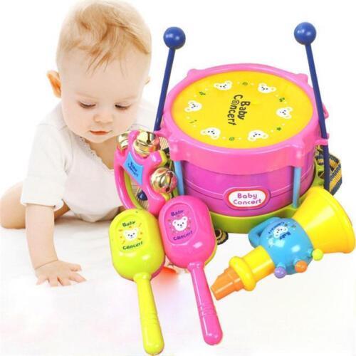 5pcs Kids Roll Drum Handbell Musical Instruments Band Kit Baby Toy Xmas Gift FI