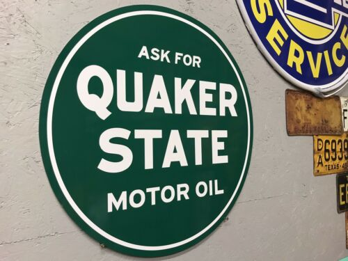 Antique Vintage Old Style Quaker State Motor Oil Sign