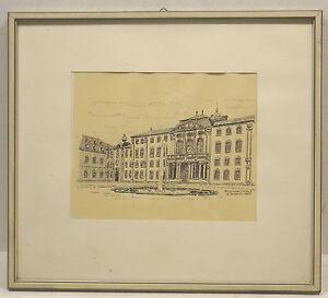 034-Bruchsal-Schloss-Ansicht-034-Litho-Tusche-sign-H-Dressler-1965-in-Rahmen
