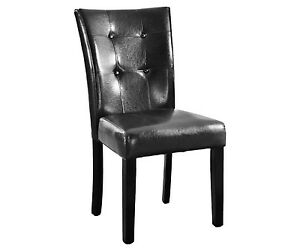 Modern-Luxurious-Bonded-leather-Parson-Black-Dining-Side-New-Chairs-set-of-2