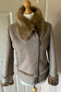 Pure-Collection-Faux-Suede-Fur-Lined-Jacket-Uk-10-Beige-Cozy-Soft-Warm