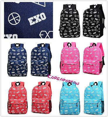 EXO sehun kris EXO-K EXO-M chan yeol luhan Backpack Schoolbag Bag Kpop New