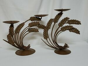 2-Metal-Candle-Sticks-Holders-Sheath-of-Wheat-Brown-Mid-Century