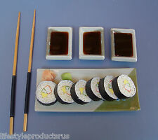 FAUX SUSHI ROLLS SOY SAUCE DIPPING SAUCES WASABI 2 CHOP STICKS FAKE STAGING PROP