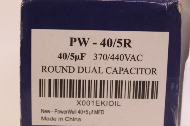 PowerWell 40 5 MFD UF 370 VAC or 440 Volt Dual Run Round Capacitor Pw-40//5//r for sale online