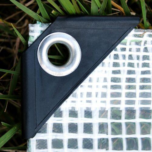 Tarpaulin Waterproof Strengthened Reinforced Mesh Clear Sheet 100 g//sm UK DSP