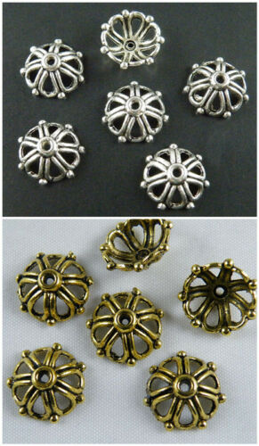 80pcs Tibetan Silver//Gold Color Flower Frame Bead Caps 14x6mm  10098