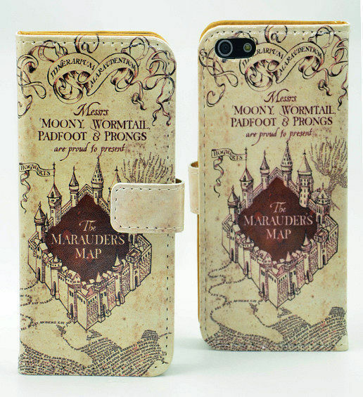 Harry Potter Marauders Map Leather Wallet Card Case Stand For iphone 5 5S SE