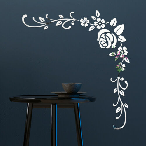 Removable 3D Mirror Flower Art Wall Stickers Acrylic Mural Decal Home-Decor DIY