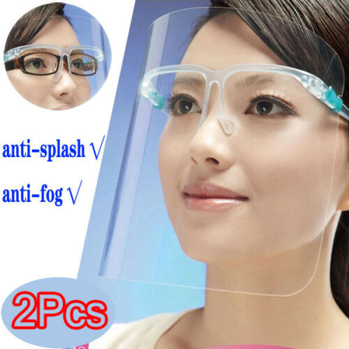 2 Set Face Shield Clear Glasses Protector Anti-fog Droplet Prevention