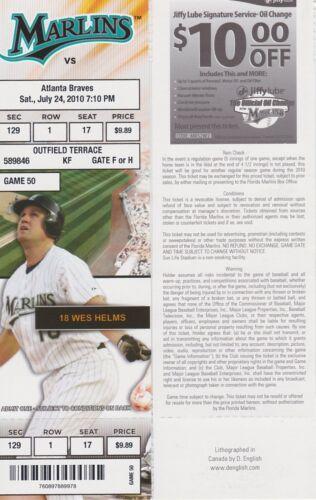 Giancarlo Stanton Career HR # 7 Unused Ticket 7//24//2010