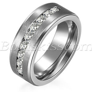 Men-039-s-Women-039-s-High-Polish-Stainless-Steel-Cubic-Zircon-Wedding-Band-Promise-Ring