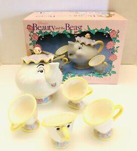1994-Disney-Store-Beauty-And-The-Beast-Toy-China-Tea-Set-Mrs-Potts-amp-Chip-NIB