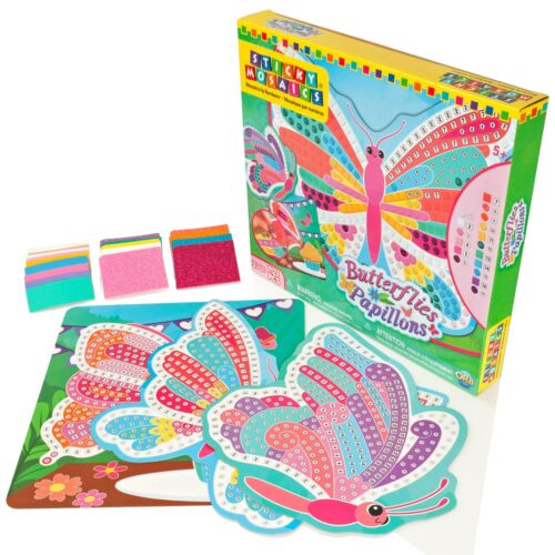 Sticky Mosaics Butterflies Childrens Colour Numbers Picture Making Craft Kit//Set