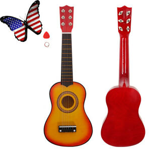 "21""Acoustic Guitar Wooden Pick Beginners Kids 6 String Orange Christmas Gift New"