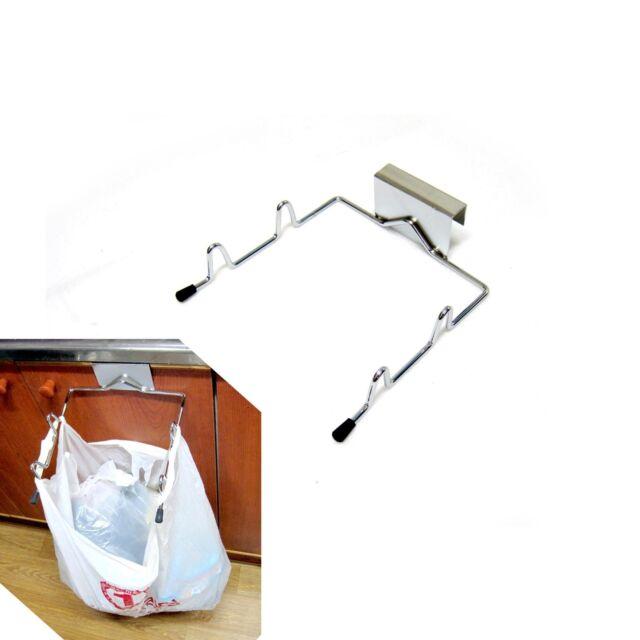 Over Cabinet Door Organizer Stainless Steel Plastic Bag Holder Sink