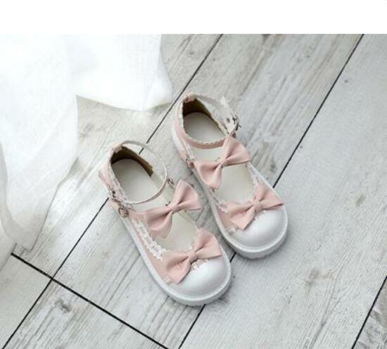 femmes Lolita BowKnot Hollow Cross Straps Round Toe Toe Toe Buckle Flat chaussures Sweet New 24b67a