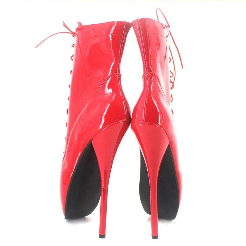RED PVC Ankle High  Ballet Boots, high heals, sexy boot, corset 18CMS 7 INCH