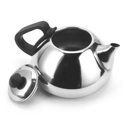 Home Dining Kitchen Stainless Steel Tea Coffe Pot Insulated Handle Silver