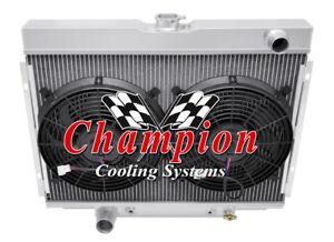 1967 68 69 70 Mustang Cougar 3 Row Champion Alum Radiator Fan Combo