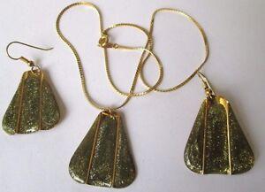 IngéNieux Parure Bijou Vintage Métal Couleur Or Scintillante Collier Boucles Pendantes 368