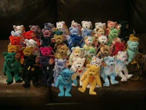 TY BEANIE BABIE BEARS - 46 NEW WITH TAGS ORIGINAL & RETIRED.