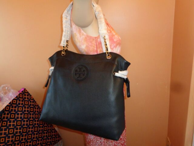 0900b3f8b480 Tory Burch Marion Slouchy Black Leather Shoulder Tote for sale ...