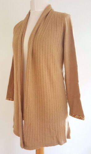 100 London Liberty color drappeggio Of Bnwt taglia L Cardigan lungo tortora cashmere n8UgS1WS
