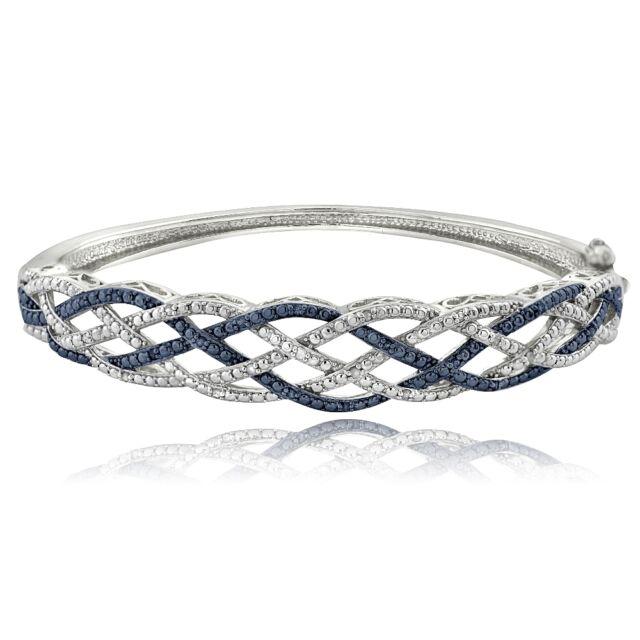 1/4 Ct Blue & White Diamond Weave Bangle Bracelet