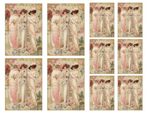 Vintage Image Victorian Women Ladies In Fashion Waterslide Decals WOM919