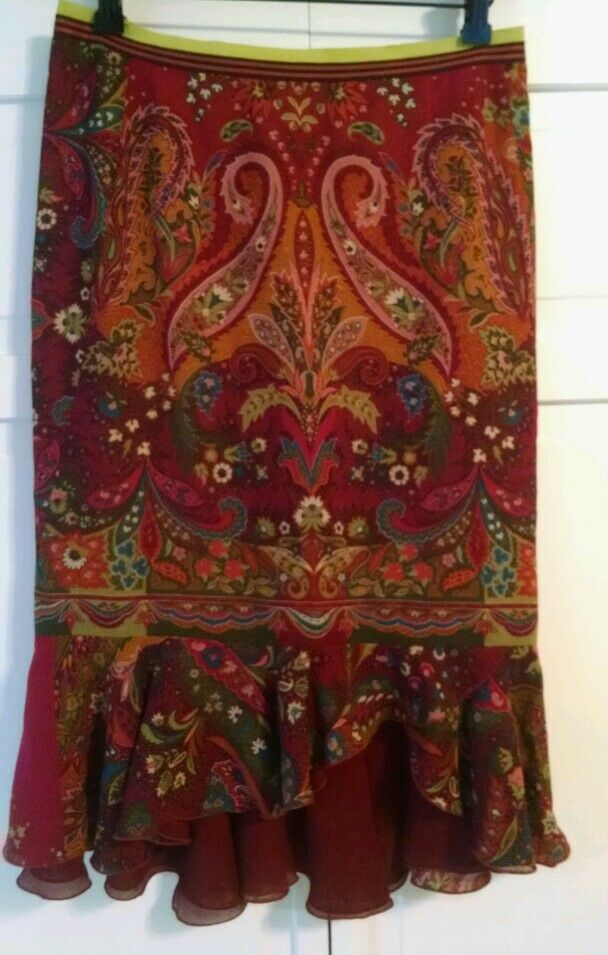Etro paisley thin wool skirt silk blend liner with tierot hem, NWOT 42
