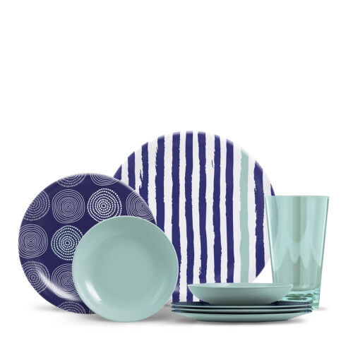 ThermoServe Everyday Collection Cora Series 16 Piece Set 6 Colors//Patterns