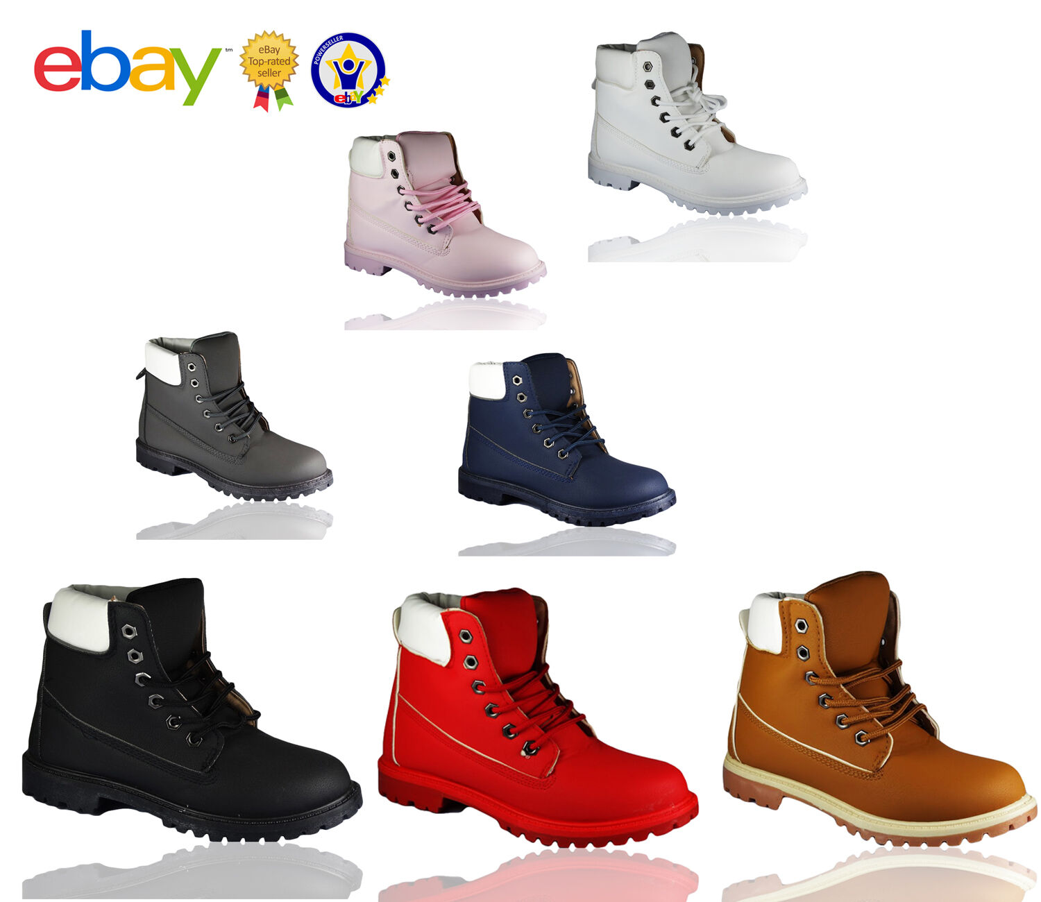 LADIES WOMENS GIRLS WALKING ANKLE LACE UP ARMY GRIP SOLE COMBAT ANKEL BOOTS SIZE