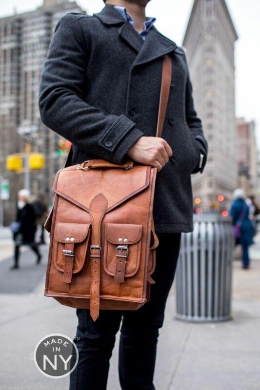 15 Vintage Leather Backpack Messenger Brown Laptop Messenger Shoulder Rucksack