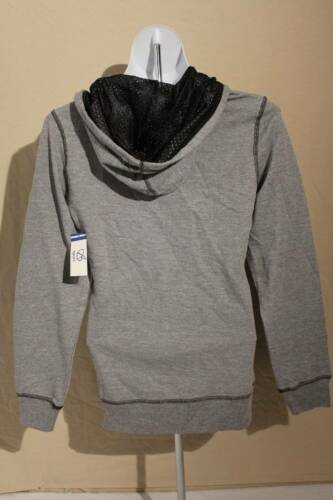 NEW Womens Hooded Jacket Small Gray Black Pockets Light Weight Hoodie Full Zip