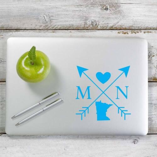 Laptop # 1088 Minnesota Love Cross Arrow State MN Decal Sticker for Car Window